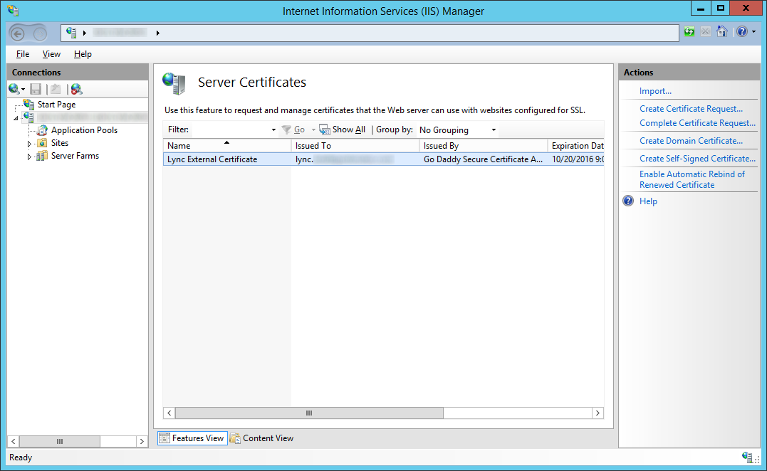LyncRP - Internet Information Services IIS Manager - Server Certificates