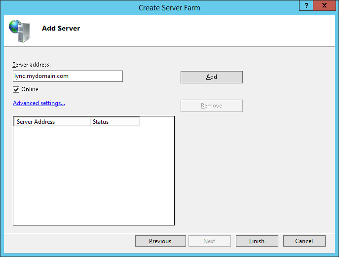 LyncRP - Internet Information Services IIS Manager - Server Farms - Create Server Farm - Add Server