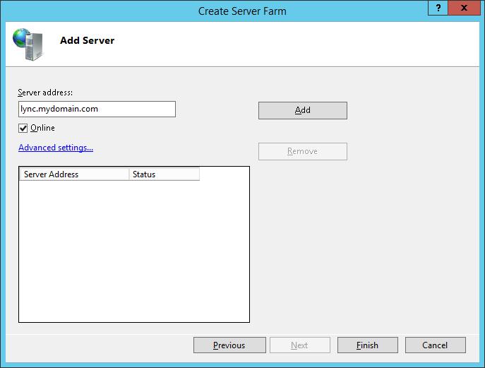 LyncRP - Internet Information Services IIS Manager - Server Farms - Create Server Farm - Add Server