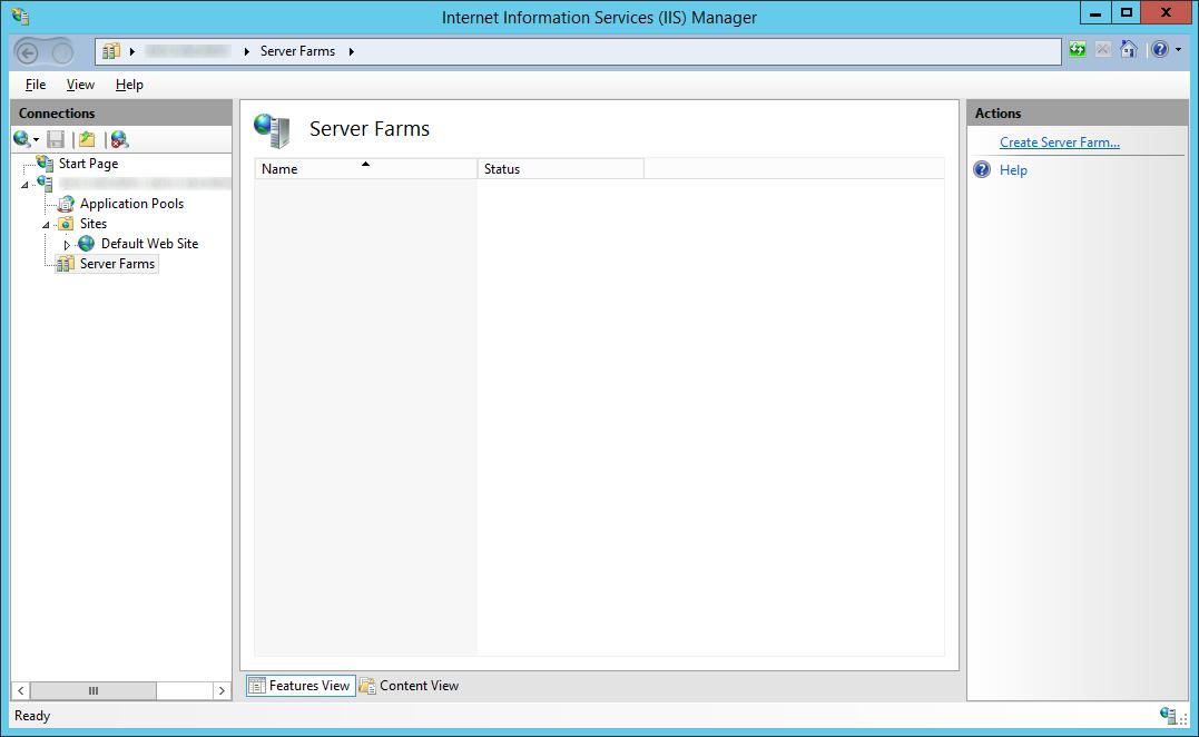 LyncRP - Internet Information Services IIS Manager - Server Farms - Create Server Farm
