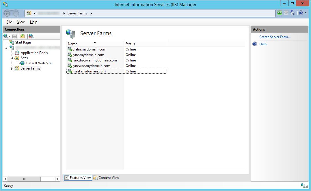 LyncRP - Internet Information Services IIS Manager - Server Farms - meet-dialin-lyncdiscver-lyncwac
