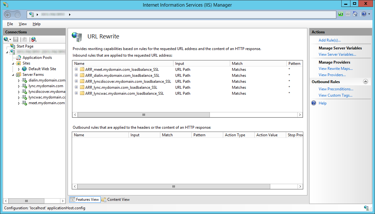 LyncRP - Internet Information Services IIS Manager - URL Rewrite - Remove - Non-SSL - Removed