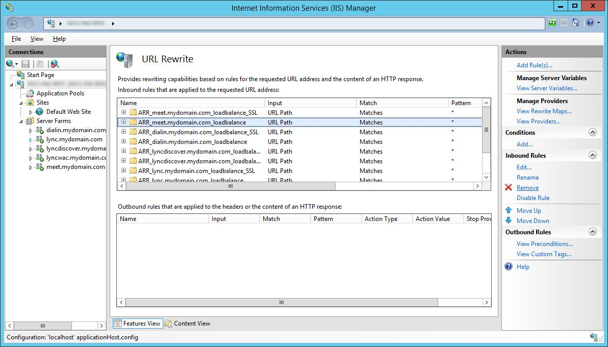 LyncRP - Internet Information Services IIS Manager - URL Rewrite - Remove - Non-SSL