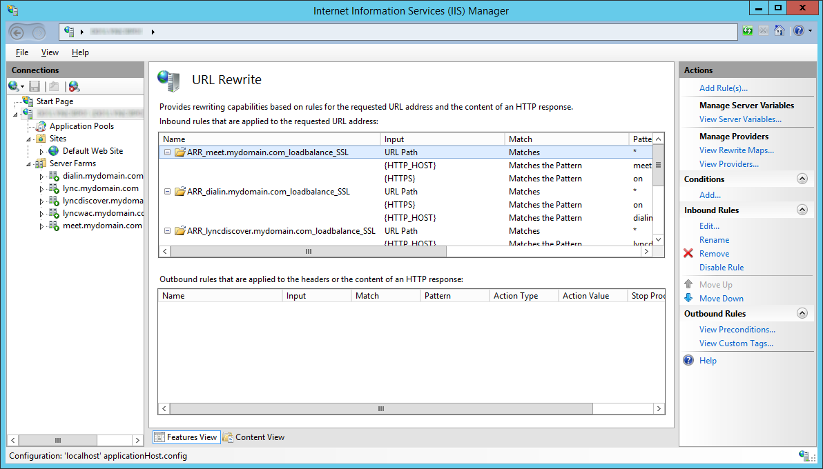 LyncRP - Internet Information Services IIS Manager - URL Rewrite - Rules