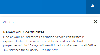 Office 365 - Alert - Renew your certificates