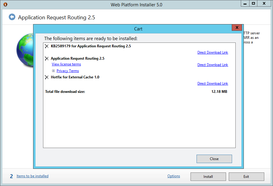 Web Platform Installer 5.0 - Aplication Request Routing 2.5 - Cart