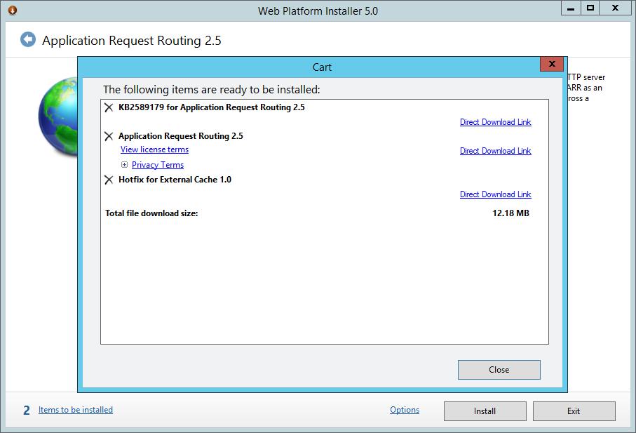 Web Platform Installer 5.0 - Aplication Request Routing 2.5 - Cart
