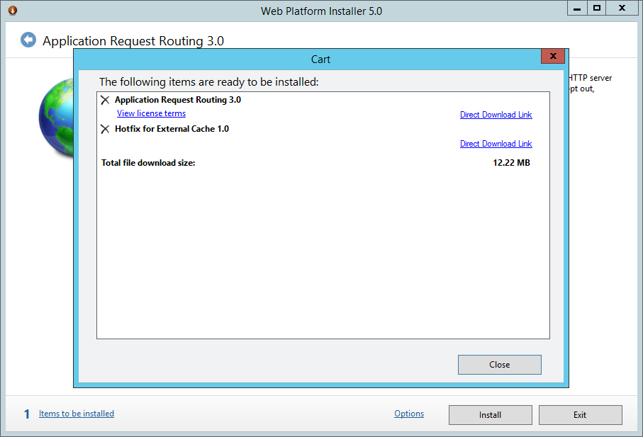 Web Platform Installer 5.0 - Aplication Request Routing 3.0 - Cart