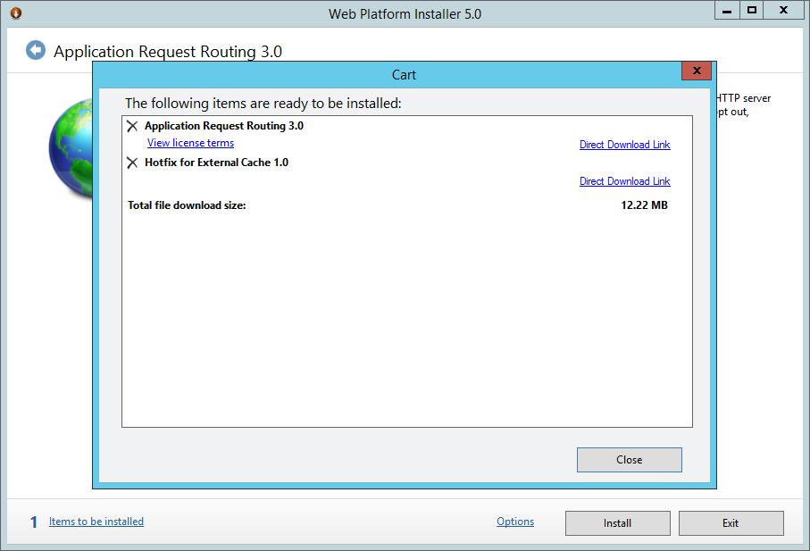 Web Platform Installer 5.0 - Aplication Request Routing 3.0 - Cart