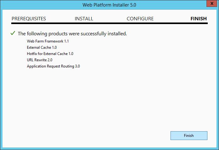 Web Platform Installer 5.0 - Aplication Request Routing 3.0 - Finish
