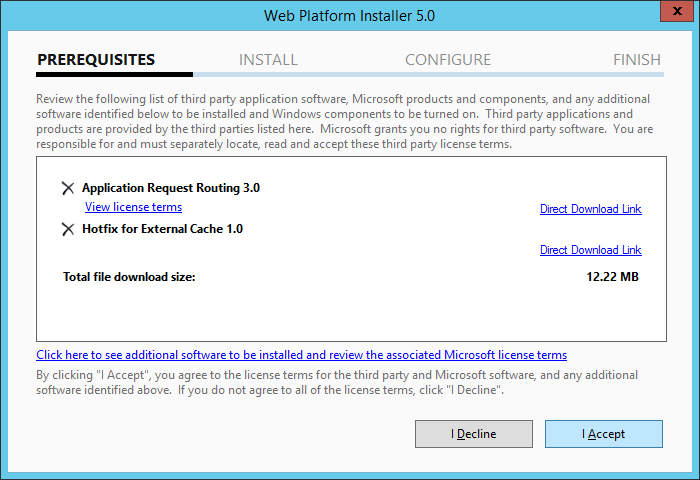 Web Platform Installer 5.0 - Aplication Request Routing 3.0 - I Accept
