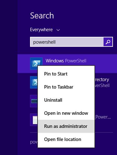 Windows 8 - Search - powershell - run as administrator