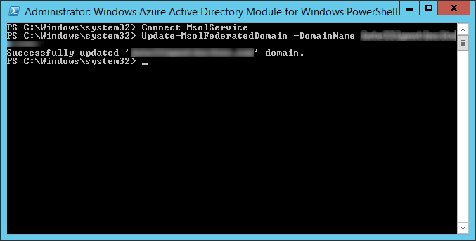 Windows Azure Active Directory Module for Windows PowerShell - Connect-msolservice - update-msolfederateddomain