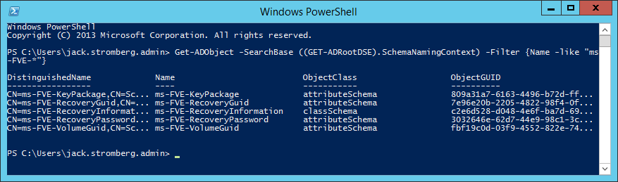 AD-Schema objects for BitLocker