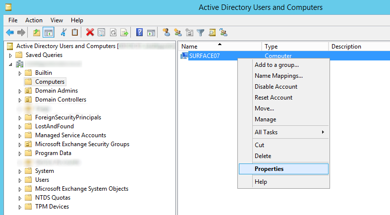 Active Directory Users and Computers - Computers - Computer - Properties