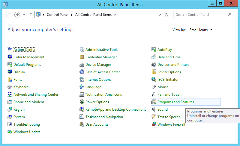 Control Panel - Small Icons - Programs and Features