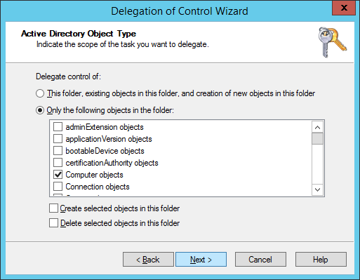 Delegation of Control Wizard - Active Directory Object Type - Only the following objects in the folder - Computer Objects