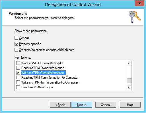 Delegation of Control Wizard - Permissions - Property-specific - Write msTPM-OwnerInformation