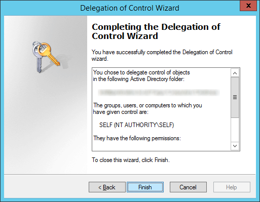 Delegation of Control Wizard - SELF - Finish