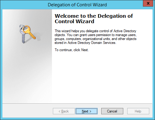 Delegation of Control Wizard - Welcome