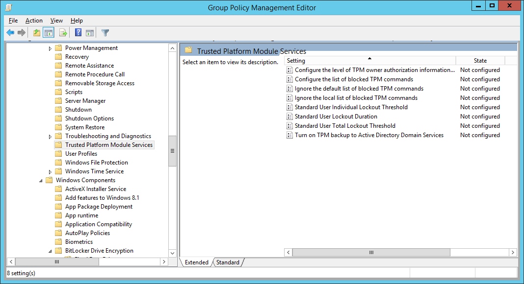 Group Policy Management Editor - Computer - Configuration - Administrative Templates - System - Trusted Platform Module Services