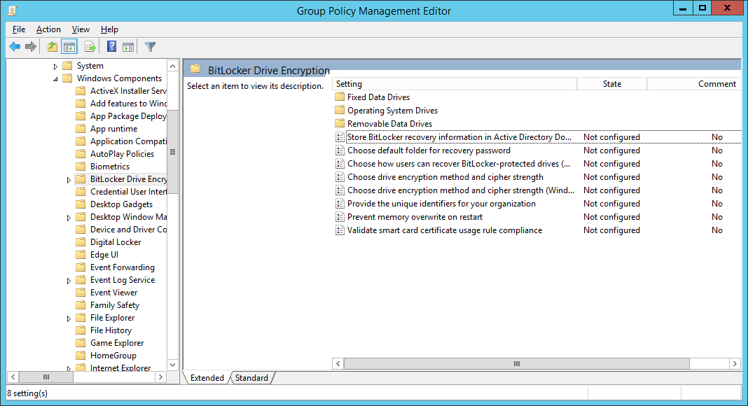 Group Policy Management Editor - Computer - Configuration - Administrative Templates - Windows Components - BitLocker Drive Encryption
