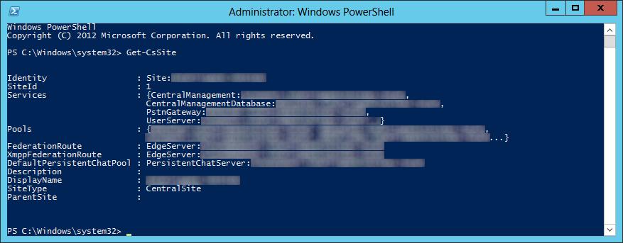 Lync Server 2013 - Get-CsSite
