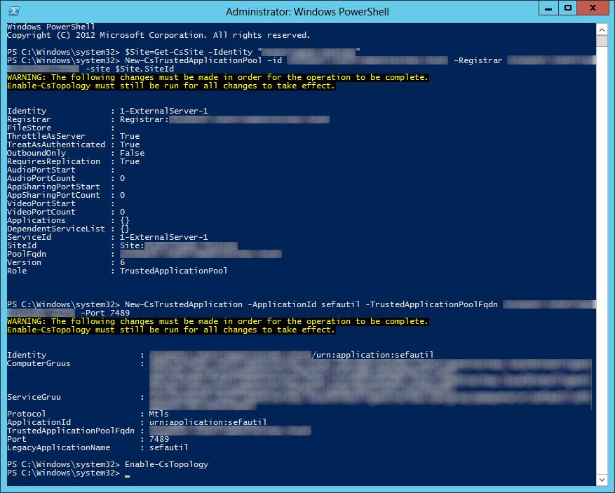 Lync Server 2013 - New-CsTrustedApplication sefautil - Enable-CsTopology