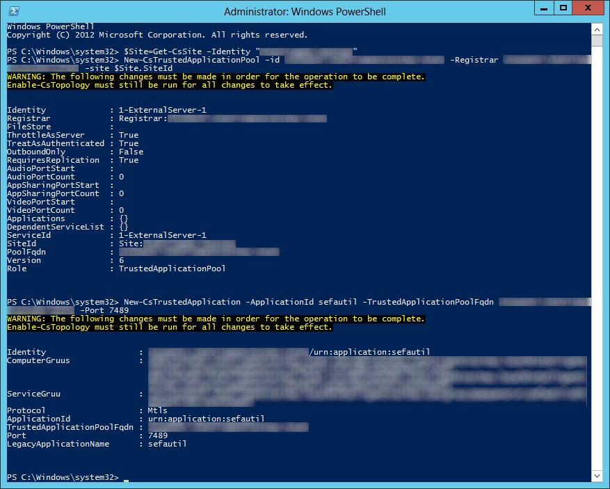 Lync Server 2013 - New-CsTrustedApplication sefautil