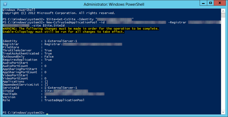 Lync Server 2013 - New-CsTrustedApplicationPool
