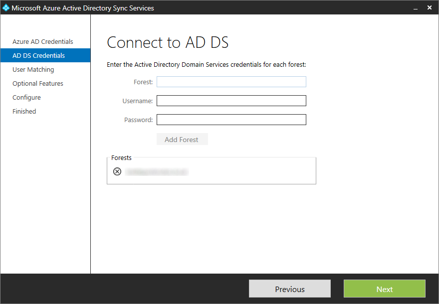 Microsoft Azure Active Directory Sync Services - AD DS Credentials - Forests Validated
