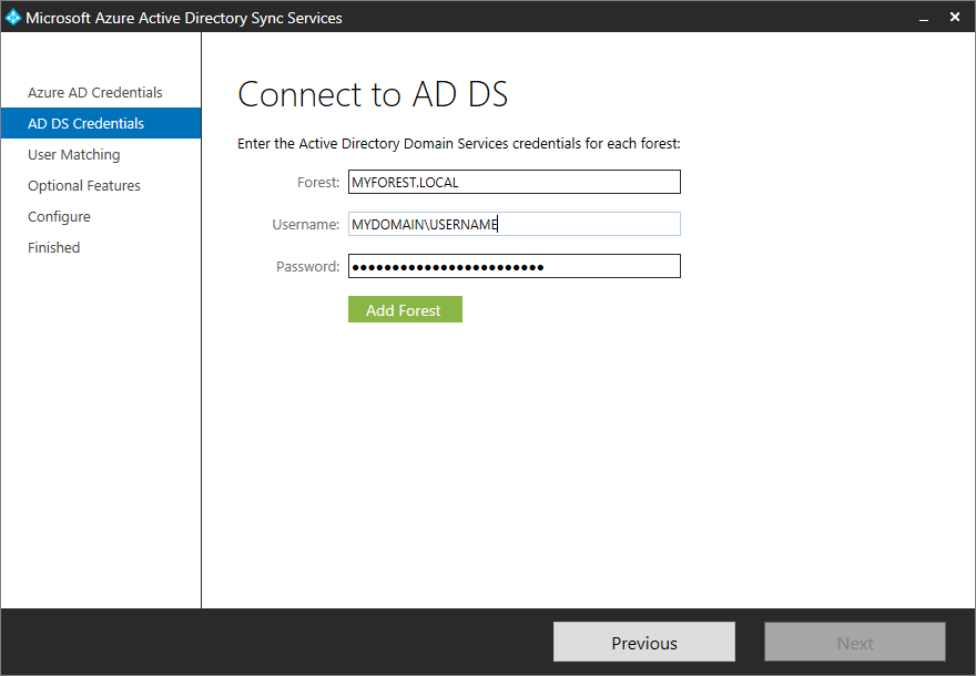 Microsoft Azure Active Directory Sync Services - AD DS Credentials
