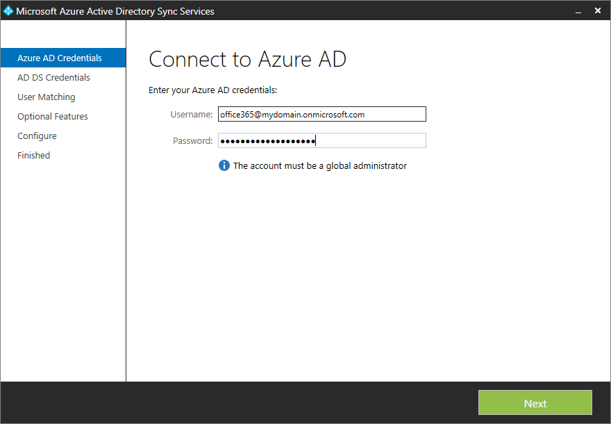Microsoft Azure Active Directory Sync Services - Azure AD Credentials