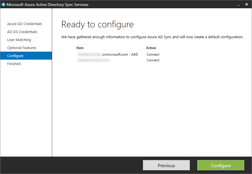 Microsoft Azure Active Directory Sync Services - Configure