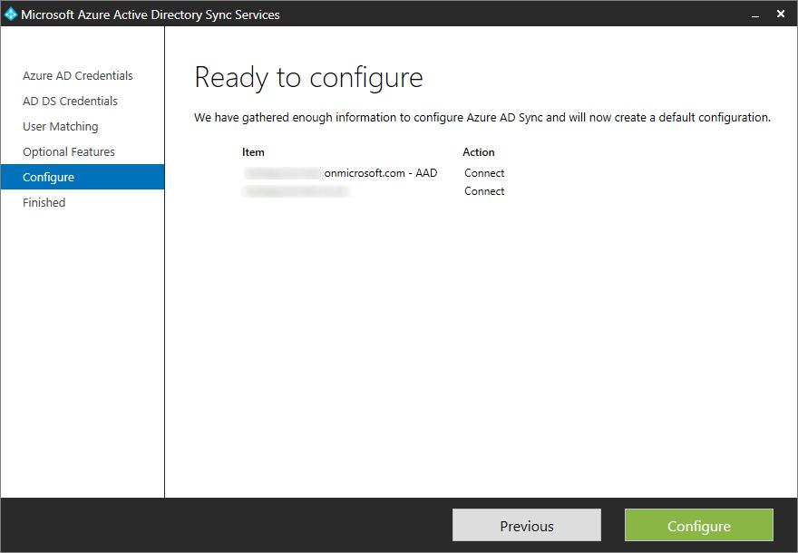 Microsoft Azure Active Directory Sync Services - Configure