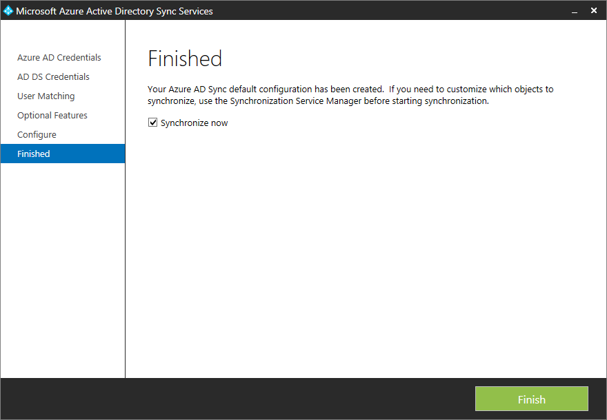 Microsoft Azure Active Directory Sync Services - Finish