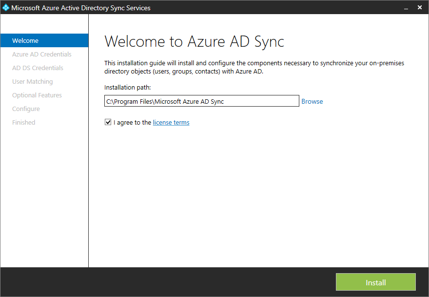Microsoft Azure Active Directory Sync Services - Install