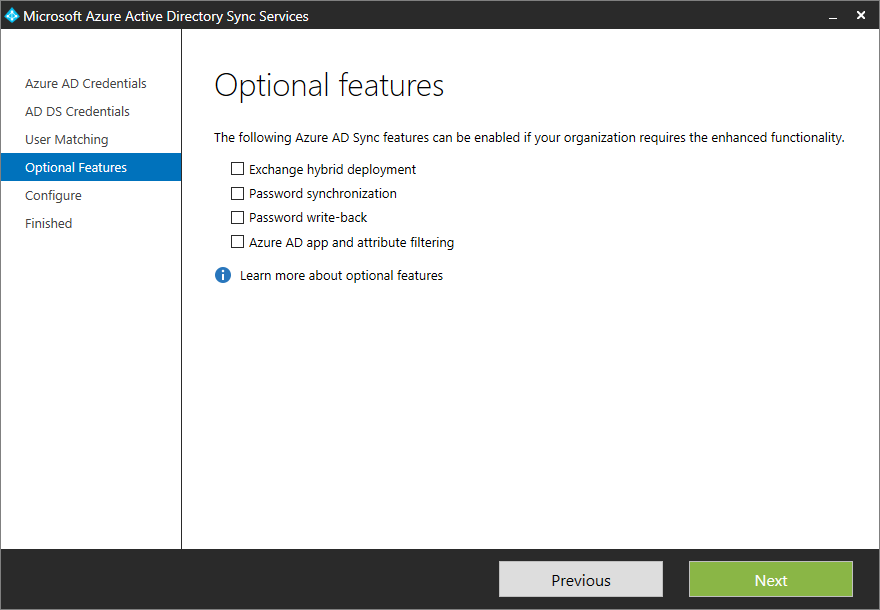 Microsoft Azure Active Directory Sync Services - Optional Features