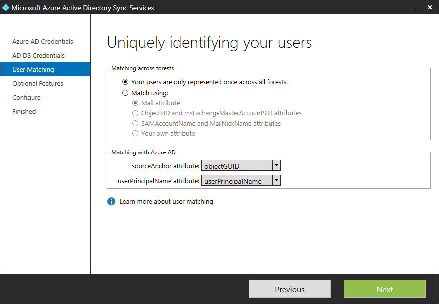 Microsoft Azure Active Directory Sync Services - User Matching