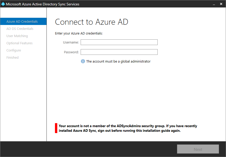 Microsoft Azure Active Directory Sync Services - Your account is not a member of the ADSyncAdmins security group