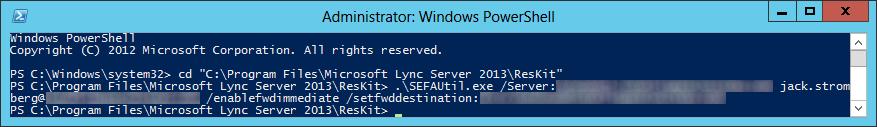 SEFAUtil enablefwdimmediate setfwddestination
