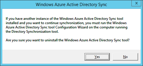 Windows Azure Active Directory Sync - Another instance dialog - Uninstall
