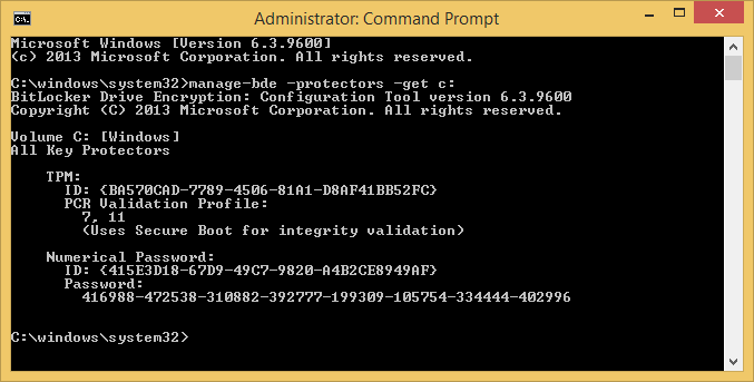 command prompt - manage-bde -protectors -get c