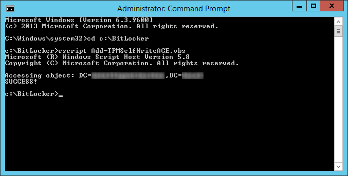 cscript add-tpmselfwriteace for bitlocker