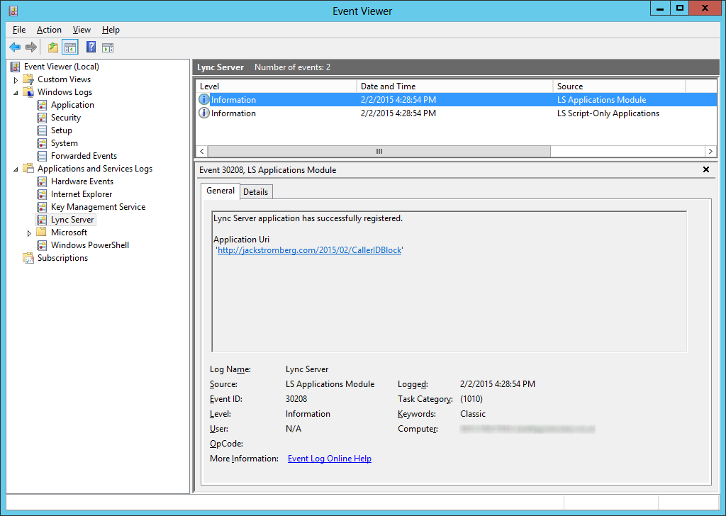 Event Viewer - Applications and Services Logs - Lync Server - Event ID 30208