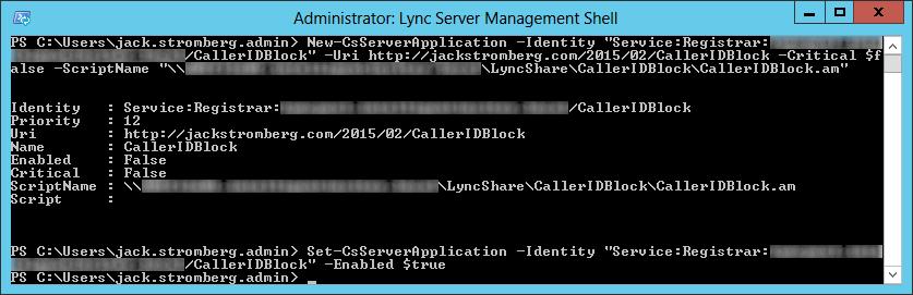 Set-CsServerApplication -Identity CallerIDBlock