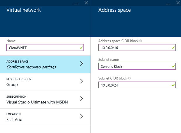 Azure - Create - Networking - Virtual Networking - Address space