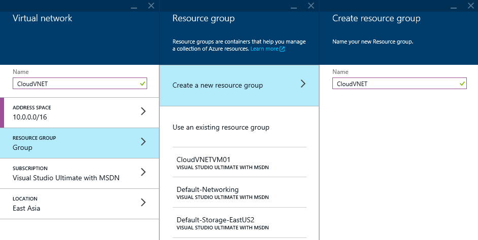 Azure - Create - Networking - Virtual Networking - Resource Group - Create resource group