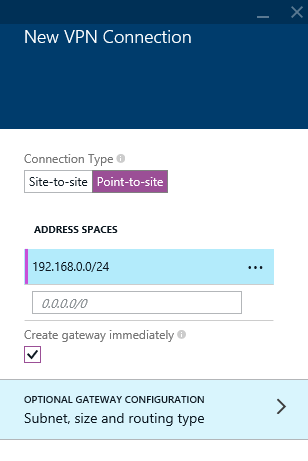 Azure - Create - Networking - Virtual Networking - Virtual Network - VPN Connections - New VPN Connection
