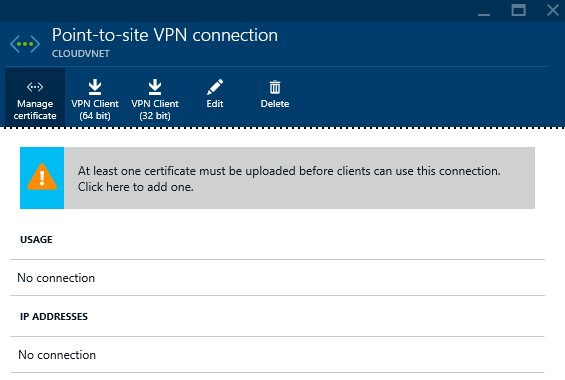 Azure - Create - Networking - Virtual Networking - Virtual Network - VPN Connections Provisioned - VPN connections - Point-to-Site - Manage Certificate